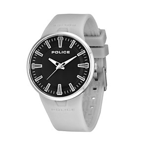 Police Men's Stainless Steel Grey Rubber Strap Watch - Product number 1629417