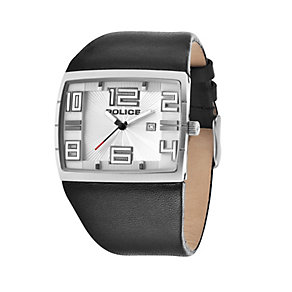 Police Men's Stainless Steel Black Leather Strap Watch - Product number 1629433