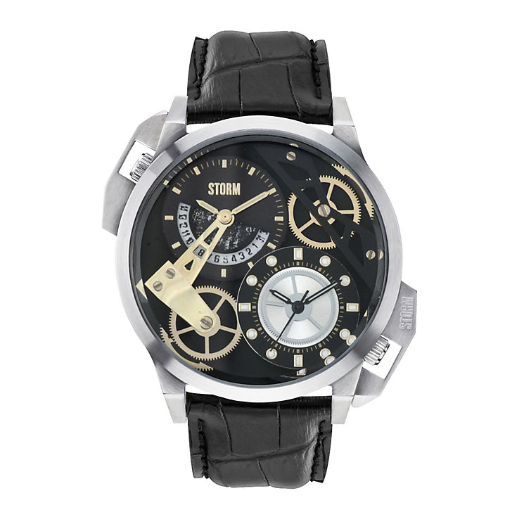 STORM Dualon Men's Stainless Steel Black Leather Strap Watch - Product number 1630857