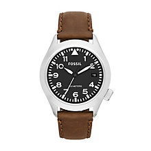 Fossil Men's Stainless Steel Brown Leather Strap Watch - Product number 1634046