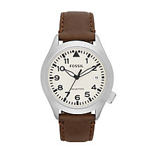 Fossil Men's Stainless Steel Brown Leather Strap Watch - Product number 1634062