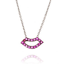 Gaia Dreams Rhodium-Plated Stone Set Lips Necklace - Product number 1637177