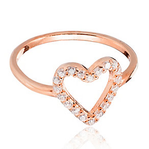 Gaia Dreams Rose Gold-Plated Stone Set Heart Ring - Product number 1637347