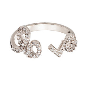 Gaia Dreams Sterling Silver Crystal 'Love' Ring - Product number 1637363