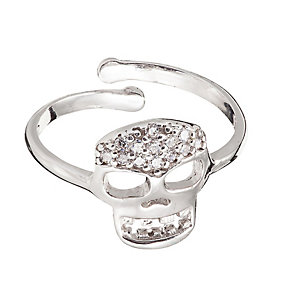 Gaia Dreams Sterling Silver Crystal Skull Ring - Product number 1637436
