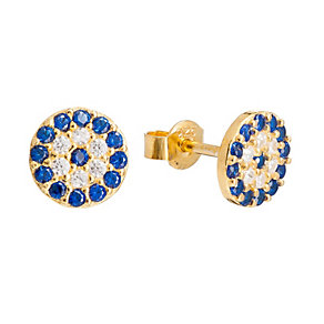 Gaia Dreams Gold-Plated Blue & Clear Crystal Stud Earrings - Product number 1637444