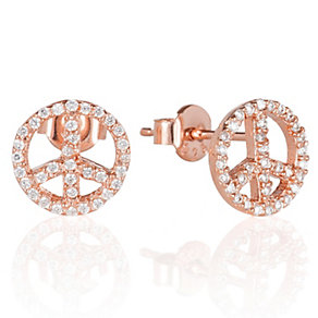 Gaia Dreams Rose Gold-Plated Peace Sign Stud Earrings - Product number 1637452