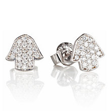 Gaia Dreams Silver Stone Set Hamsa Hand Stud Earrings - Product number 1637460