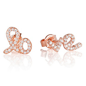 Gaia Dreams Rose Gold-Plated Stone Set Love Stud Earrings - Product number 1637479