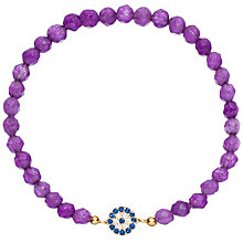 Gaia Dreams Gold-Plated Evil Eye Purple Bead Bracelet - Product number 1637533