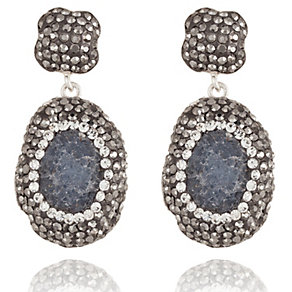 Sterling Silver Drusy & Swarovski Elements Drop Earrings - Product number 1637584