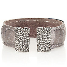 Sterling Silver Snakeskin Effect & Swarovski Elements Cuff - Product number 1637606