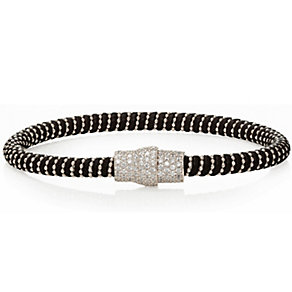 Gaia Sterling Silver Cubic Zirconia Black Silk Bracelet - Product number 1637614