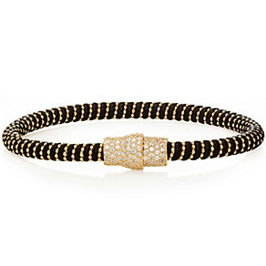 Gaia Gold-Plated Cubic Zirconia Black Silk Bracelet - Product number 1637630