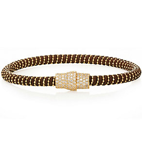 Gaia Gold-Plated Cubic Zirconia Brown Silk Bracelet - Product number 1637665