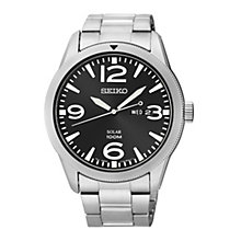 Seiko Solar men's black dial stainless steel bracelet watch - Product number 1637681