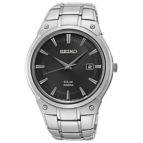 Seiko Solar men's black dial stainless steel bracelet watch - Product number 1637789