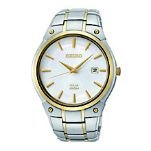 Seiko Solar men's white dial two colour bracelet watch - Product number 1637797