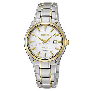 Seiko Solar ladies' white dial two colour bracelet watch - Product number 1637819