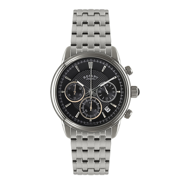 Rotary Men's Black Dial Stainless Steel Bracelet Watch - Product number 1638580