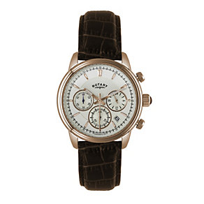 Rotary Men's Rose Gold-Plated Brown Leather Strap Watch - Product number 1638637