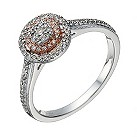 9ct white & rose gold 22 point diamond halo ring - Product number 1638920