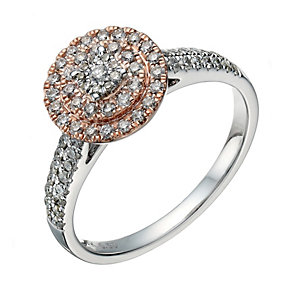 9ct white & rose gold 0.50ct diamond round halo ring - Product number 1639218