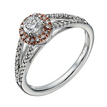 9ct white & rose gold 0.50ct diamond halo ring - Product number 1639471