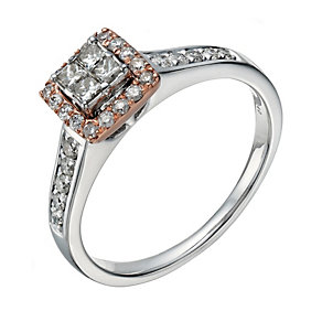 9ct white & rose gold 40 point diamond halo ring - Product number 1639617