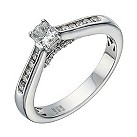 18ct white gold 1/2 carat radiant cut diamond solitaire ring - Product number 1639749