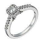 18ct white gold 1/2 carat radiant cut diamond solitaire ring - Product number 1639889