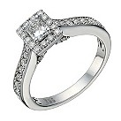 18ct white gold 80 point radiant cut diamond solitaire ring - Product number 1640011