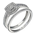 9ct white gold 1/3 carat diamond cushion bridal ring set - Product number 1640488