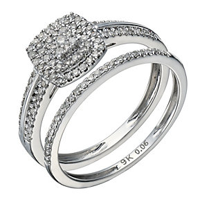 9ct white gold 0.33ct diamond cushion bridal ring set - Product number 1640488