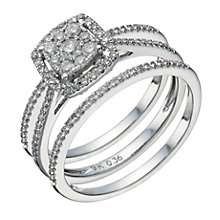 9ct white gold 0.50ct diamond cushion bridal ring set - Product number 1640615
