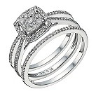 9ct white gold 1/2 carat diamond cushion bridal ring set - Product number 1640615