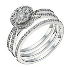 9ct white gold 1/2 carat diamond round halo bridal ring set - Product number 1640747