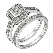 9ct white gold 0.50ct diamond princess cut bridal set - Product number 1640887