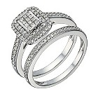 9ct white gold 1/2 carat diamond princess cut bridal set - Product number 1640887
