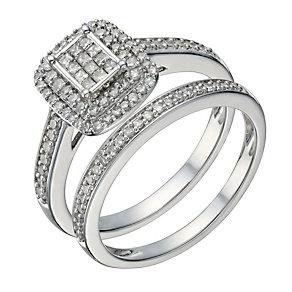 9ct white gold 0.50ct diamond princess cut bridal set - Product number 1640887