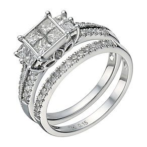 18ct white gold 1 carat diamond princess cut bridal ring set - Product number 1641026