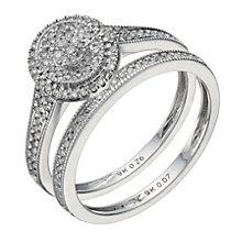 9ct white gold 0.33ct diamond halo bridal ring set - Product number 1641700