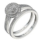 9ct white gold 1/3 carat diamond halo bridal ring set - Product number 1641700