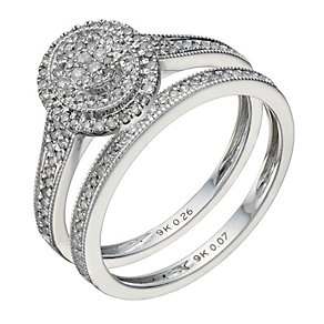 9ct white gold 0.33ct diamond halo bridal ring set - Product number 1641700