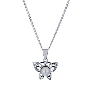 Sterling Silver Cultured Freshwater Pearl Butterfly Pendant - Product number 1641840