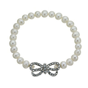 Silver Plated Cultured Freshwater Pearl Bow Bracelet - Product number 1641905