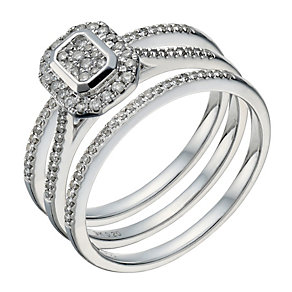 9ct white gold 0.3 carat diamond rectangular bridal ring set - Product number 1641913