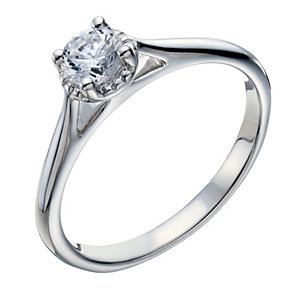 18ct white gold 0.33ct diamond illusion solitaire ring - Product number 1642189