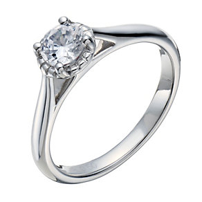 18ct white gold 0.50ct diamond illusion solitaire ring - Product number 1642316