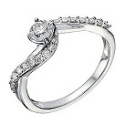 9ct white gold 0.50ct diamond solitaire crossover ring - Product number 1643231
